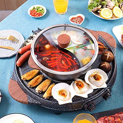 BBQ -The Electric Thai BBQ Barbecue and Hot Pot, Electric Grill 2 in 1, Electric Hot Pot Electric Barbecue Electric Baking Dish, Integrated Saucepan, Teppanyaki Electric Grill