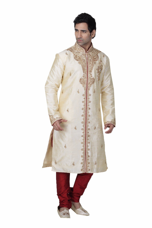 daindiashop-USA Readymade Wedding Sherwani For Men Cream Brocade Incredible Design for Grooms