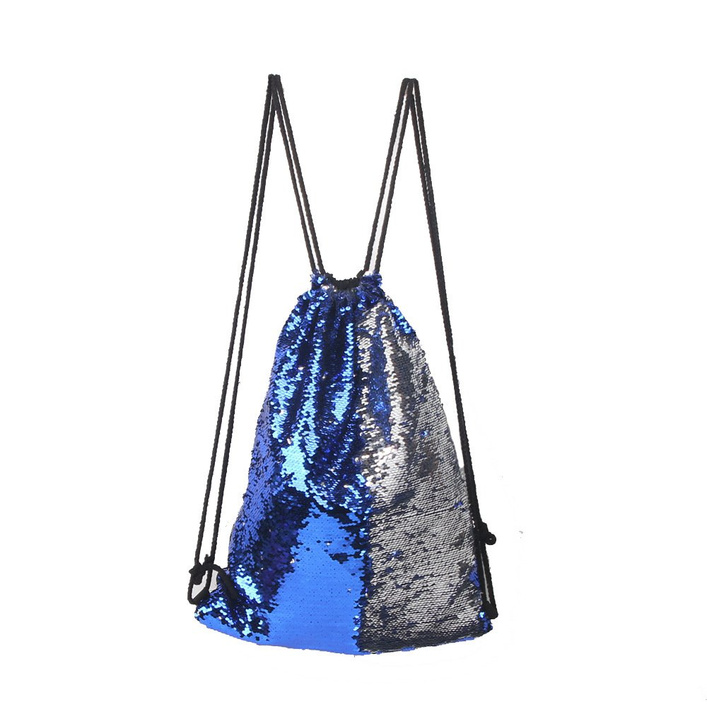 Xy Litol Drawstring Gym Sport Bag, Portable Large Sequin Drawstring Bag Backpack for Sports Outdoor Travel Pack Blue Silver