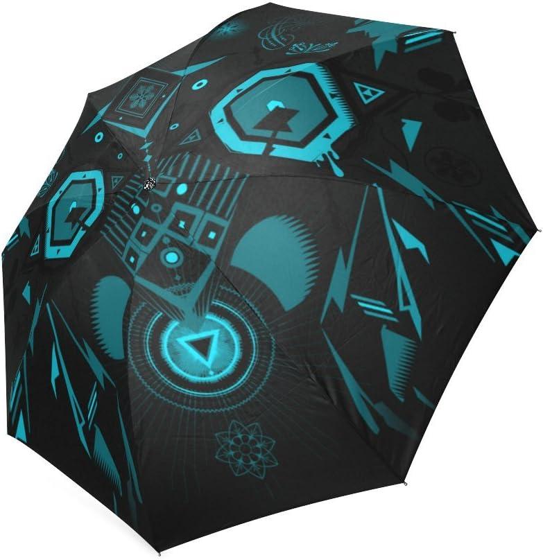 Beautytool Glowing Blue Shapes Custom Foldable Umbrella Rain Umbrella Travel Umbrella
