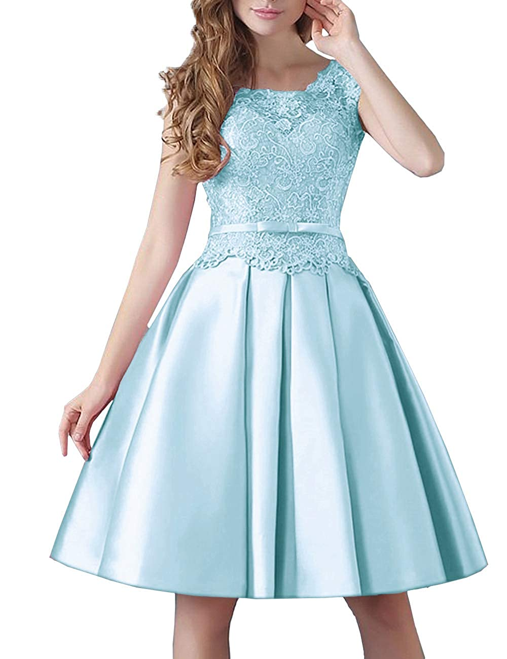Ice bluee Uther Prom KneeLength Lace Cocktail Dress Short Stain Homecoming Dresses for Girls