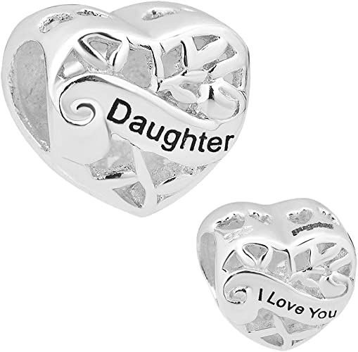 Pugster I Love You 925 Silver Heart Daughter Charms Sale Cheap Jewellery  Bead fit Pandora Bracelet …