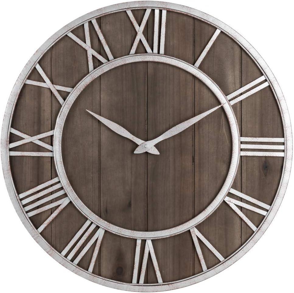 Oldtown Farmhouse Metal & Solid Wood Noiseless Wall Clock (Dark Brown, 18-inch)