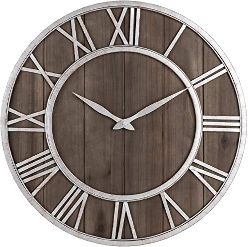 Oldtown Farmhouse Metal Solid Wood Noiseless Wall Clock Dark Brown Wood Rustic Silver Metal Iron Frame with Rusted Orange Red Paint Dots, 18-inch