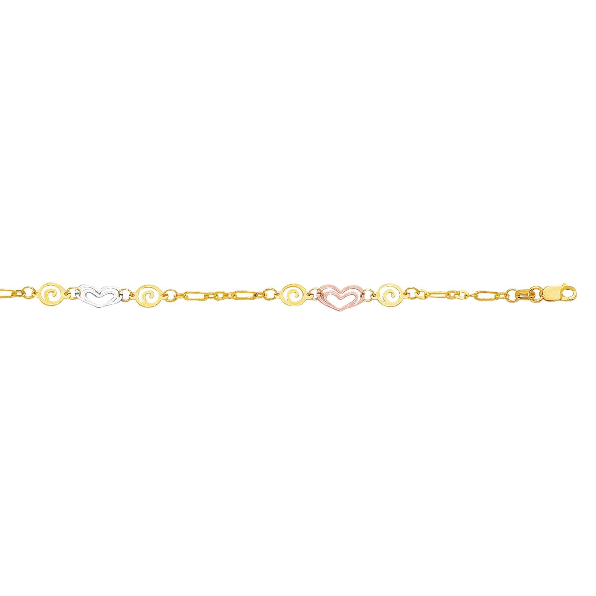 14k Gold 10 Inch Polish Finish Heart Swirl Anklet Bracelet