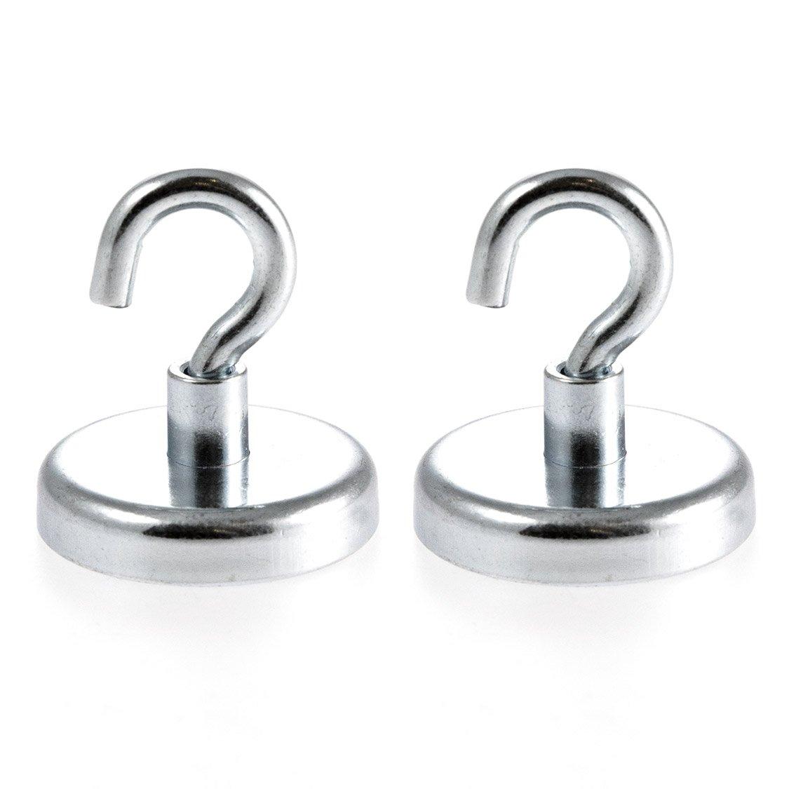 Magnetastico® | 2 piezas ganchos magnéticos de neodimio N35 32 mm Ø | Fuerza de