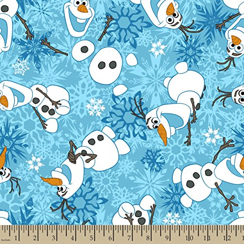 Springs Creative Products Group Frozen Olaf Winter Snowflakes Scene Fleece Fabric by The Yard, 59/60-Inch, Blue]()
