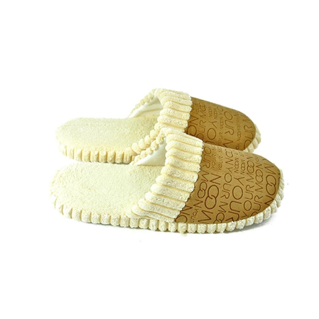 HuaYang Winter Warm Family Loves Home Slippers Cartoon Letters Soft Plush Indoor Shoes Brown; 42-43