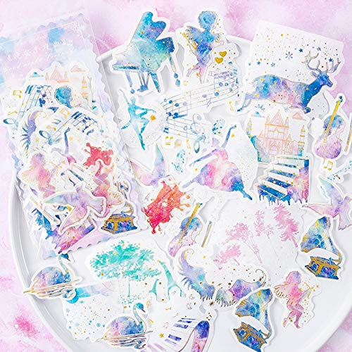 - Piano, Musical Notes, Dancing Girl and Angel Golden Blue Stickers Set (60PCS) Decorative Sticker Decoration for Scrapbooking, Calendars, Arts,DIY Crafts, Album,Bullet Journal,Letter Sticker