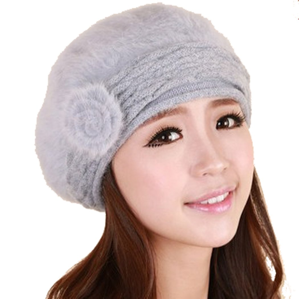 Sunny Color Women Winter Warm Soft Beanie Protective Ear Angora Knit Beret Hat Cap (Gray)
