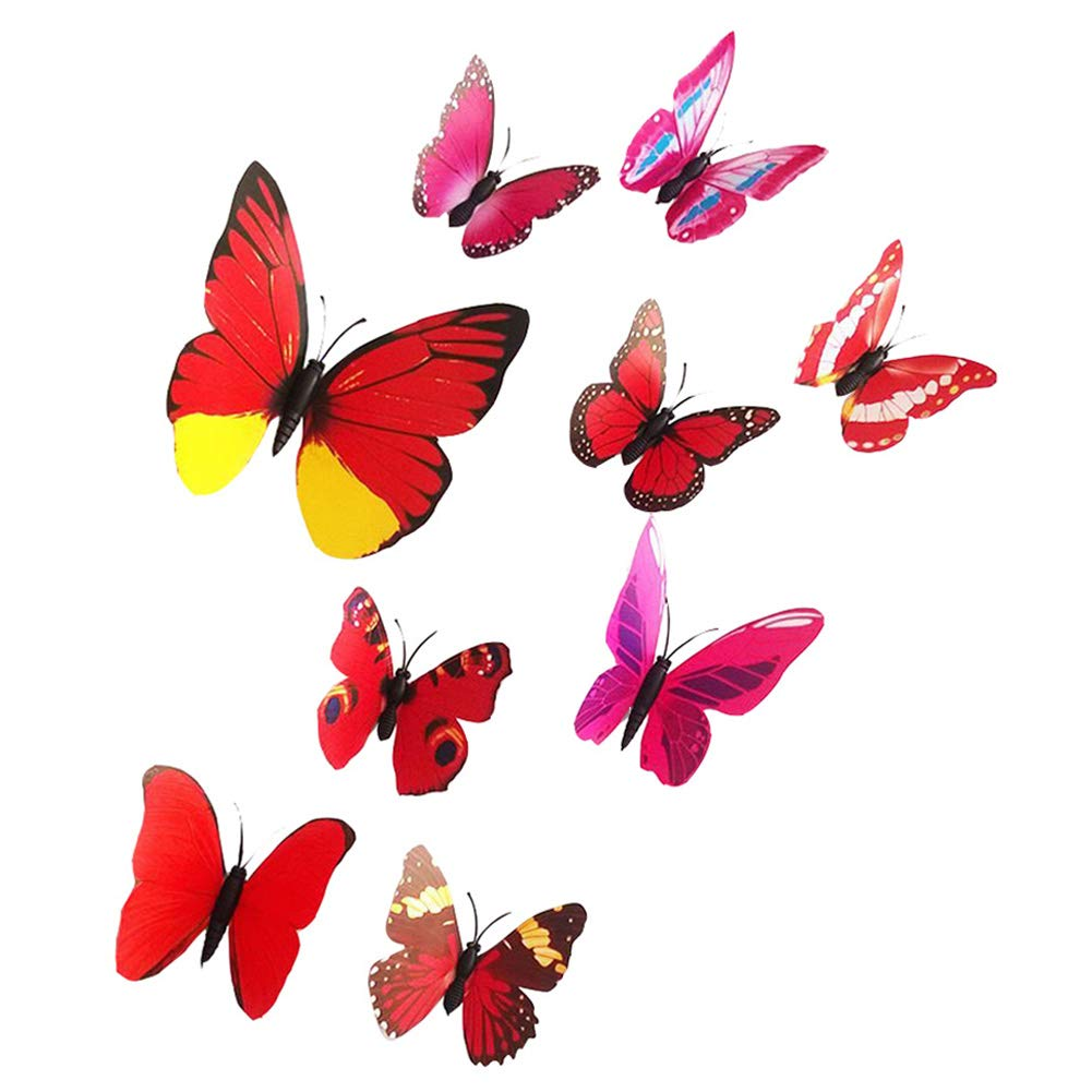Domccy 12 PCS Creative Design 3D Butterfly Wall Decal Beautiful Decal Removable PVC Sticker Home Wall Decorator Red Craft Office, Handmade Art Supplies, Sewing Tools, Textiles