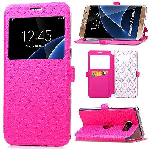 S7 Edge Case, Galaxy S7 Edge Case, ArtMine Quilted Plain Color Window View Function PU Leather Flip Folio Book Style Card Slots Kickstand Wallet Phone Case for Samsung Galaxy S7 Edge -Hot Pink