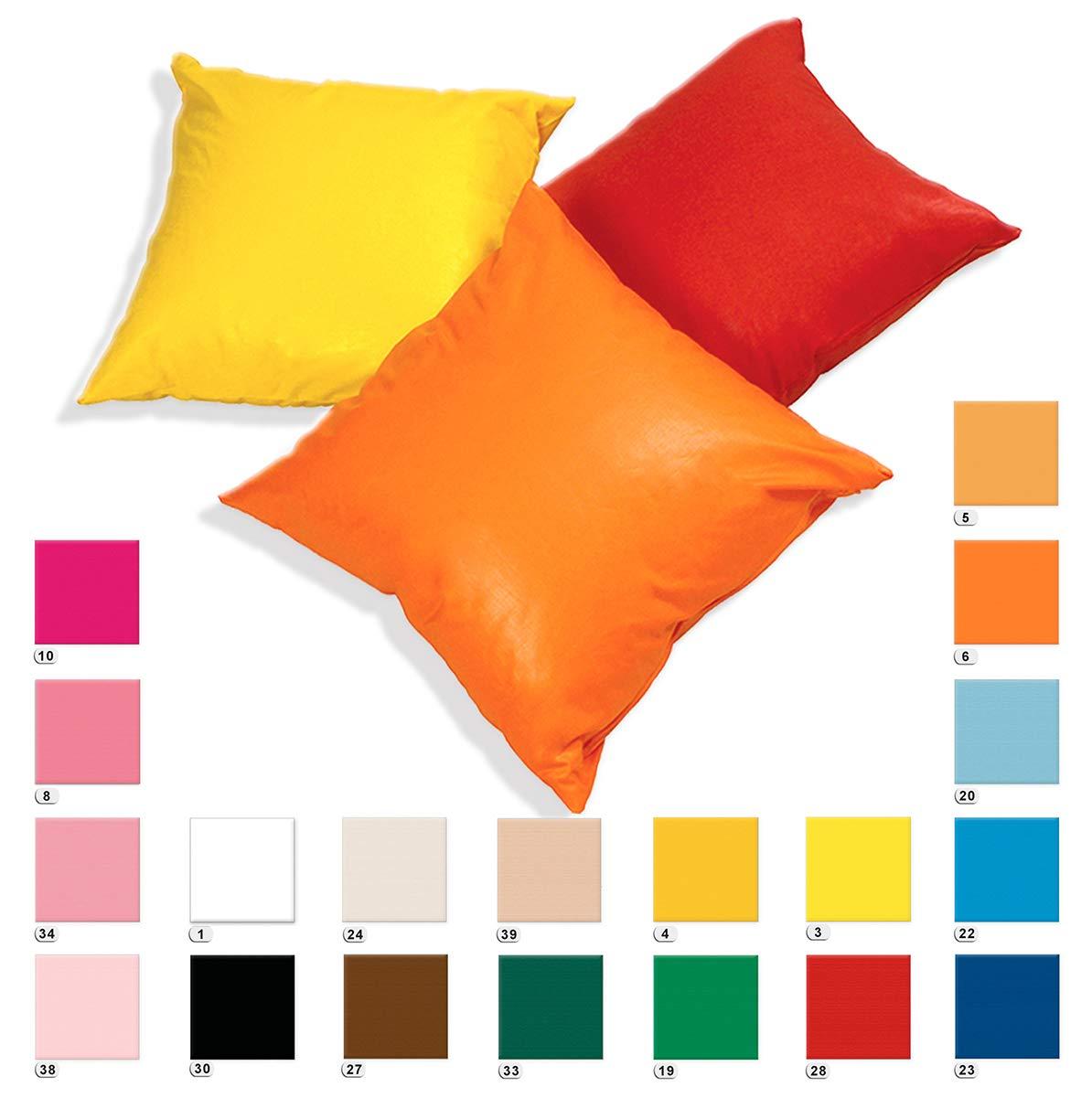 ARREDIAMOINSIEME-nelweb Fodere per Cuscini con Cerniera Tinta Unita Cotone Lucido Decorativi Copricuscini Federa 40× 40 cm Arancione EMMEVI