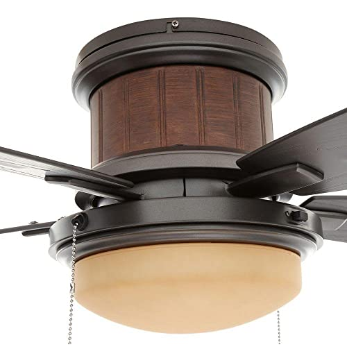 Hampton Bay Roanoke 48 in. LED Indoor Outdoor Natural Iron Ceiling Fan with Light Kit