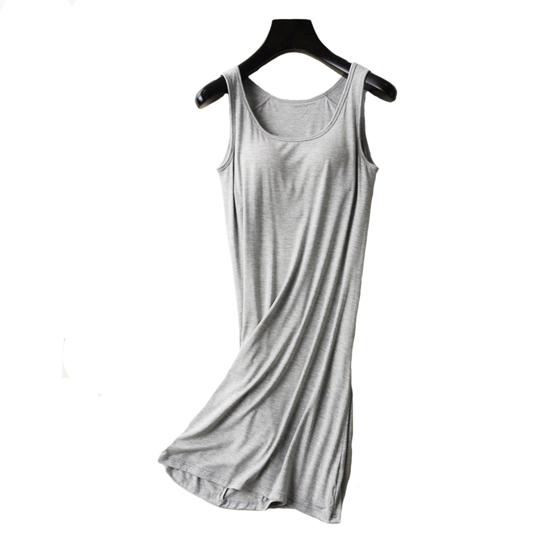 Memoriesed Womens Nightgown Built-in Shelf Bra Chemise Modal Night Dress  Sleeveless at Amazon Women s Clothing store  bb56849bc