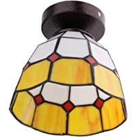 Baoblaze Mediterranean Style Glass Lampshade Ceiling Pendant Light Fitting Lamp for Loft Bar Cafe Kitchen Restaurant - Yellow