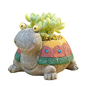 Youfui Cute Turtle Flowerpot Animal Resin Succulent Planter Desk Mini Ornament (Colorful Turtle)