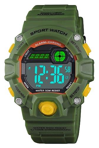 VDSOW Relojes infantiles para niños, 50M Reloj deportivo digital a prueba de agua con alarma