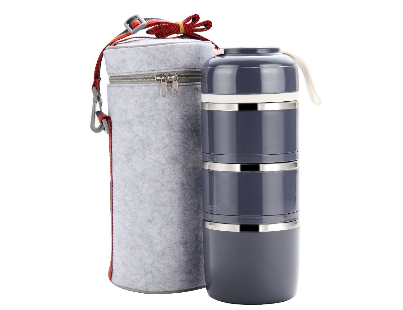 Bento Lunch Box, Portable Stainless Steel Insulated Lunch Box with Lunch Bag, BPA Free Leakproof Food Storage Container.(3Layer, Gray)