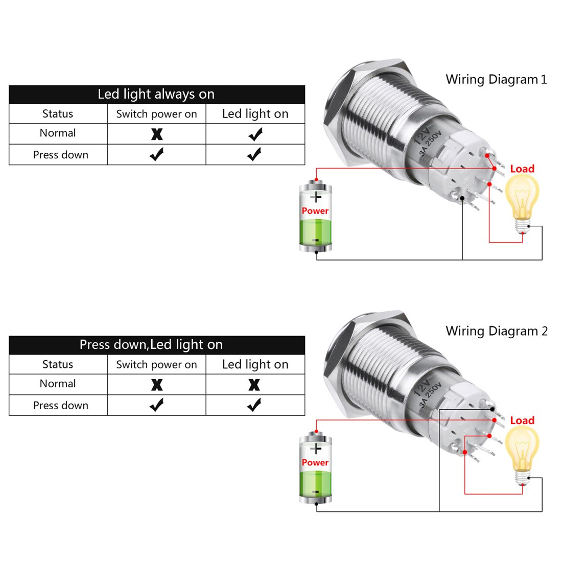 Larcele 5 Pieces 16mm Waterproof Momentary Metal Push Button Switch Led 250vac Wiring Diagram With Light Jsankg 04 Bluemomentary Car Motorbike