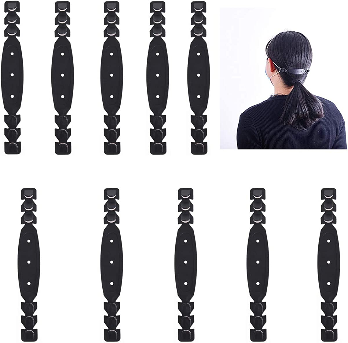 Relax Your Ears TiGog 10 Pcs Mask Ear Cord Extension Buckle Mask Extension Hook Adjustable Buckle Ear Rope Mask Extension Buckle Mask Hook Ear Wear Type Buckle for All Kinds of Mask