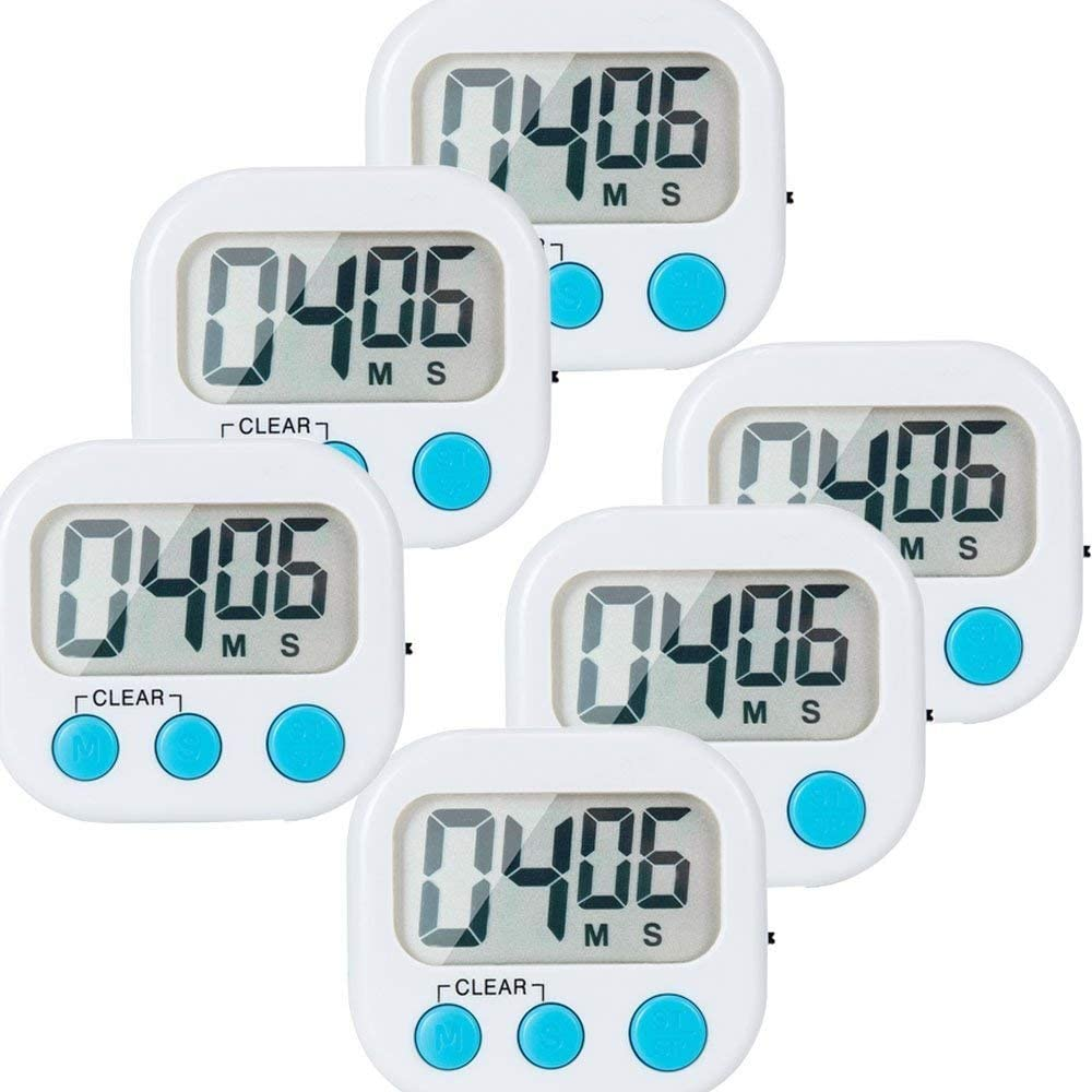 6 Pack Small Digital Kitchen Timer Magnetic Back and ON//Off Switch,Minute Second Count Up Countdown