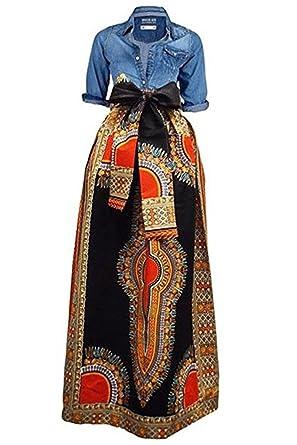 713acb5e026 Huiyuzhi Women s African Print Skirts Long Maxi Skirt Dashiki Ball Gown (M