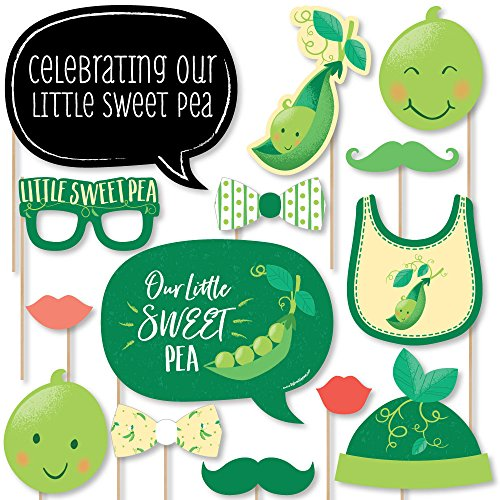 Sweet Pea in a Pod - Baby Shower or First Birthday Party Photo Booth Props Kit - 20 Count