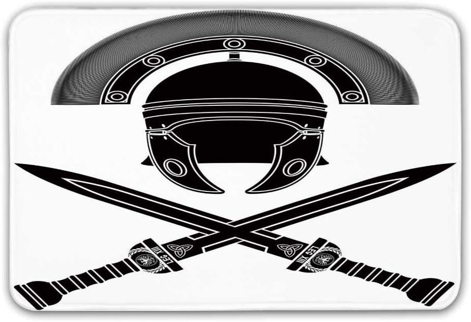 Toga Party Alfombra de entrada de goma antideslizante, casco y espadas romanas clásicas Caballero antiguo Ilustración de guerra simbólica Felpudo decorativo para puerta principal Alfombrilla de baño