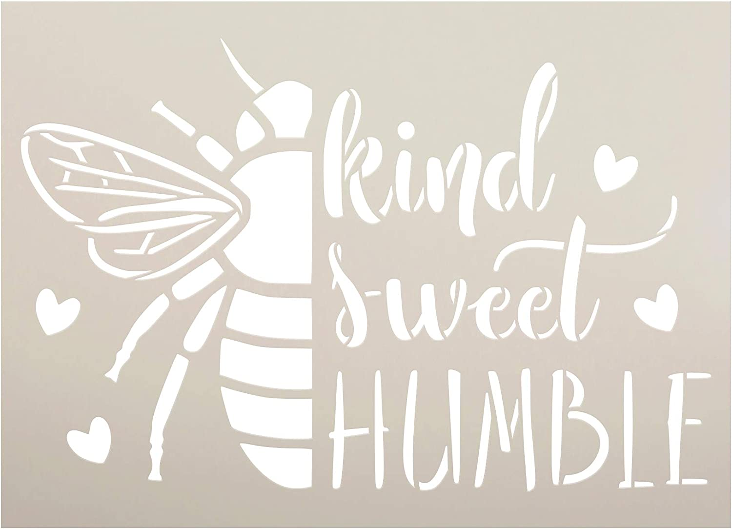 BEE Kind - Sweet - Humble Stencil by StudioR12 | DIY Bumblebee Home Decor | Craft & Paint Wood Sign | Reusable Mylar Template | Cursive Script Heart Gift Select Size (9 inches x 6.5 inches)
