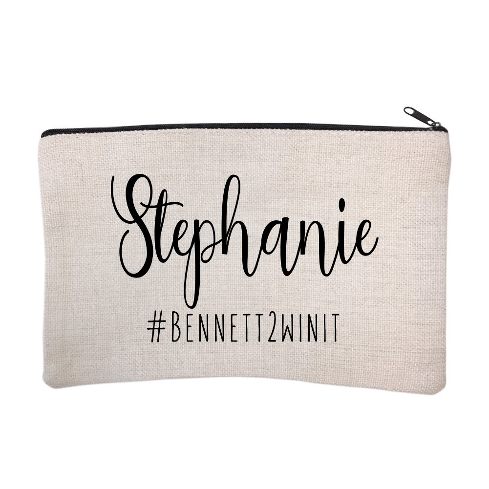 Personalized Bridal Party Hashtag Cosmetic and Makeup Bag