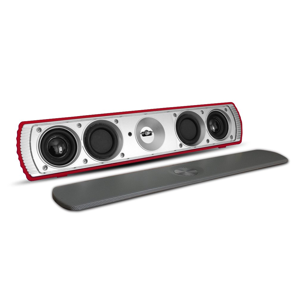 SCS ETC TV Soundbar, Wireless Bluetooth Speaker, 2 x3w Dual Drivers with Crystal, Clear and Huge Stereo Sound for PC, Laptop, Mobile, iPhone, iPad, Samsung etc (Red)