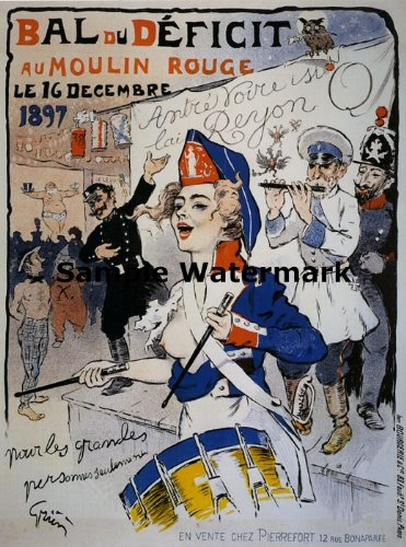 "Moulin Rouge Theatre Lady Show 1897 BAL Du Deficit France French 20"" X 30"" Image Size Vintage Poster Reproduction"