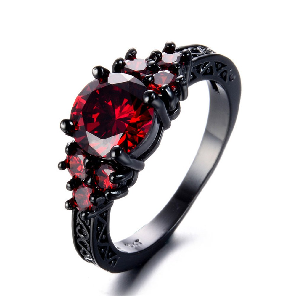 TFR-Jewelry Red Zircon Black Gold Filled Ring Vintage Jewelry for Women Wedding Engagement Rings