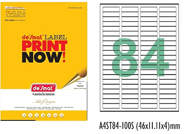 Desmat A4 Size Paper Labels For Laser, Inkjet  amp; Copiers  84 Label Sheet  Pack Of 50 Sheets  Labels   Stickers