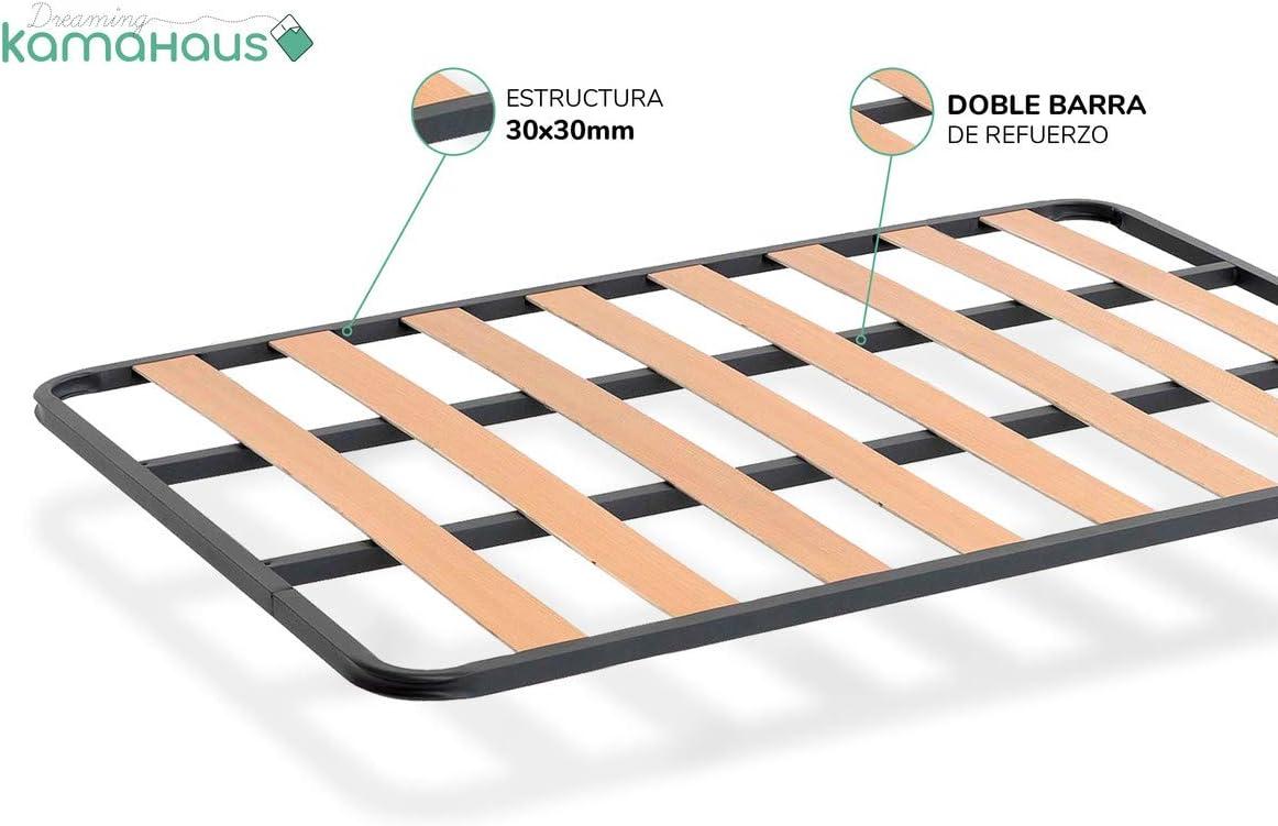 Dreaming Kamahaus SOMIER de lámina Ancha Estructura de 30x30 | Láminas de Chopo | con Patas cuadradas 27 cm | Fabricado en España |90 x 190 cms.|