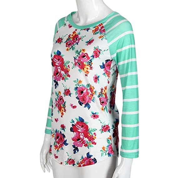 2635f21ff19 AIMTOPPY Fashion Women Long Sleeve Floral Striped Splicing O-Neck T-Shirt  Blouse (XL, Green)