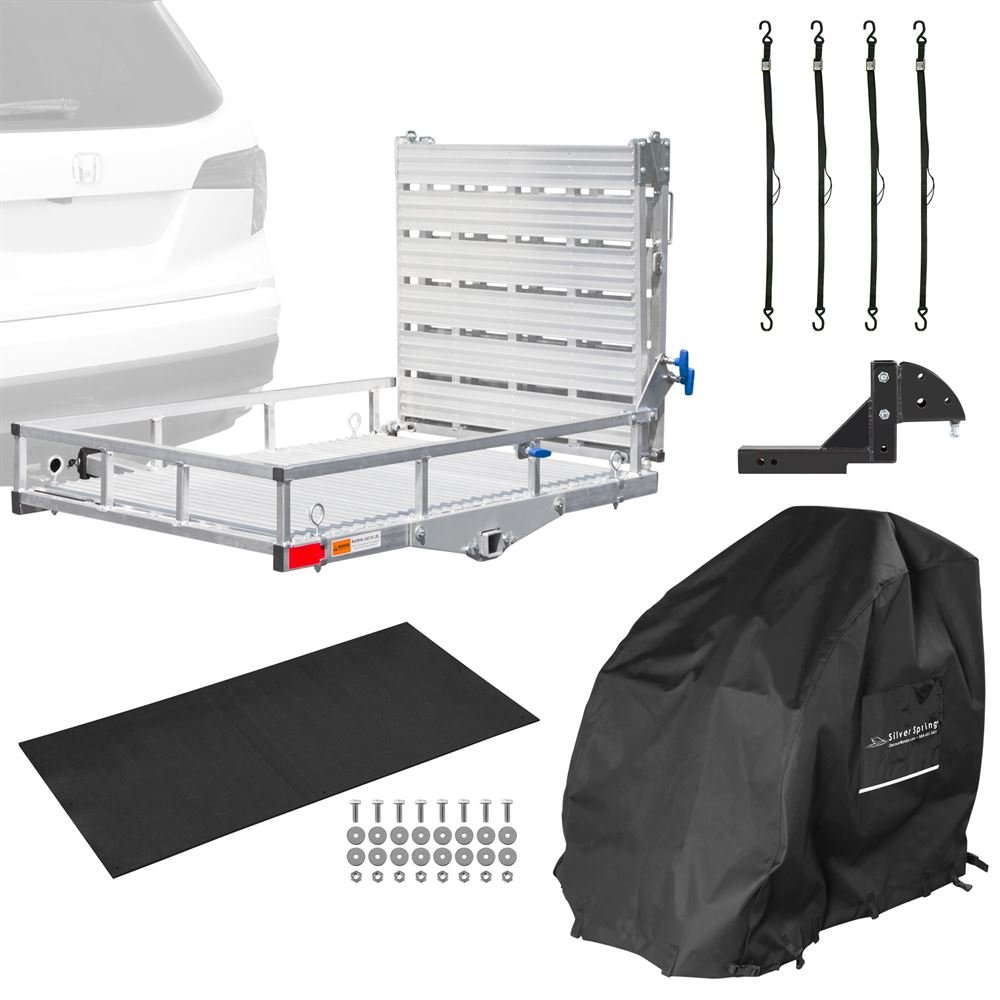 Silver Spring Aluminum Wheelchair Premium Travel Bundle - Double Fold Ramp
