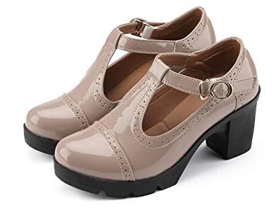 b6e64a557440 YZHYXS Platform Oxford Shoes for Women Chunky Heel t-Strap mid-Heel Square  Toe