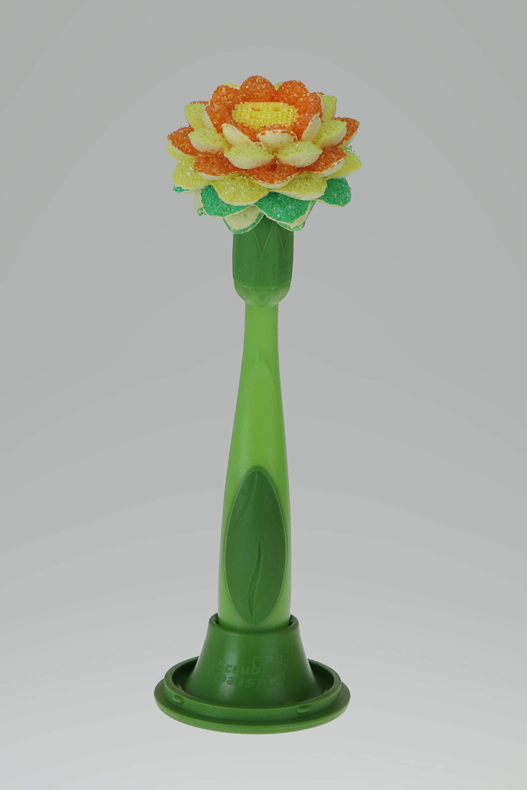 Scrub Daisy 3-Piece Dish Wand Set with Daisy Head, Set includes: Daisy Head for Multi-purpose Scrubbing, Ergonomic Soap Dispensing Handle, Self-draining Storage Vase