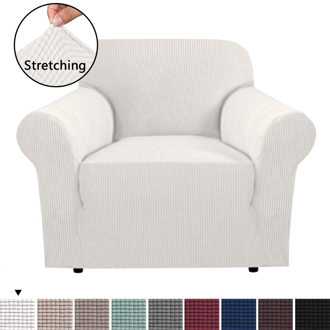 Durable Soft High Stretch Sofa Slipcover 1 Piece Ivory White Couch Covers Lycra Furniture Protector Couch Cover Machine Washable Spandex Sofa Covers, Form Fitted 1 Seater Sofa Chair Cover