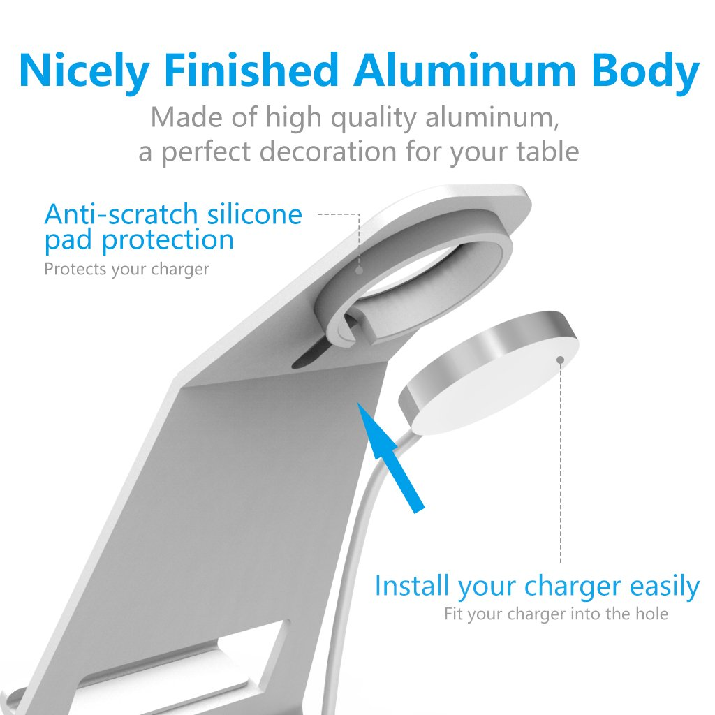 XUNMEJ Watch Stand for Apple Watch Charging Dock Stand Bracket Station Holder for Apple Watch Series 3/Series 2/ Series 1 (42mm 38mm) iPhone X 8 8plus 7 7plus 6S 6plus (Sliver) by XUNMEJ (Image #5)