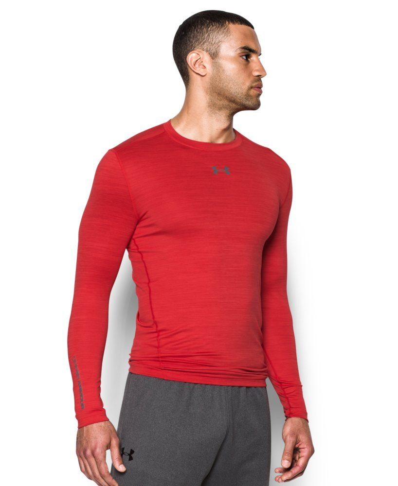 Under Armour Men's ColdGear Armour Twist Compression Crew, Red/Graphite, Small by Under Armour (Image #3)