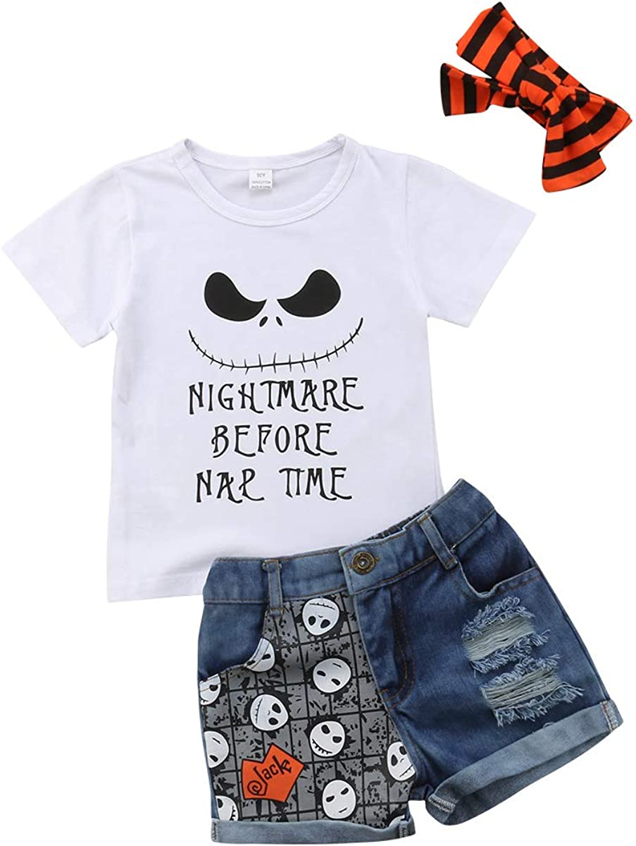 Leesiy Kids Girl Halloween Short Pants Outfit Smile T-Shirt Skull Print Short Jeans Headband 3PCS Clothes Outfits Set