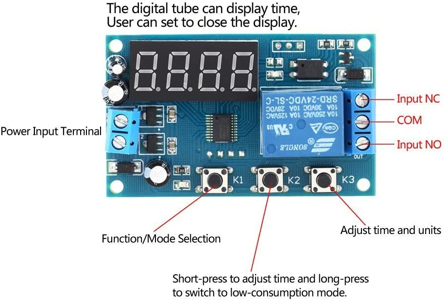 kkmoon Relais temporis/é cycle de Delay Time Relay Module Switch Control DC 24/V//12/V