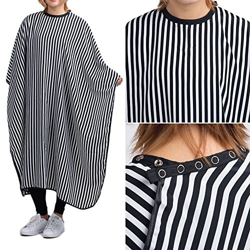 OKOKMALL US--Hair Cutting Barber Cape Black &White stripes Hairdressing Cape Haircut Cloth (Summer Cottage Stripe)