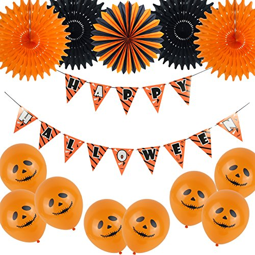 Happy Halloween Pennant Banner Tissue Paper Fans Latex