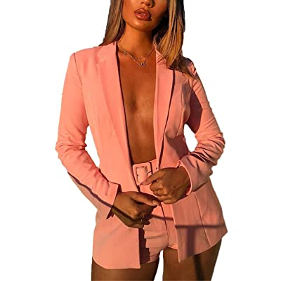 2 Piece Outfits for Women Long Sleeve Belted Solid Blazer with Shorts Pants Casual Elegant Business Suit Sets: Clothing