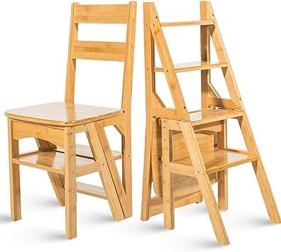 Geyao Escalera multifunción doméstica Taburete de madera maciza IKEA niños silla plegable escalera de cuatro pasos de uso doble escalera ascendente Madera color 38 × 39 × 60cm (Color : Wood color):