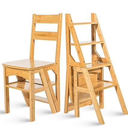 Geyao Escalera multifunción doméstica Taburete de madera ...